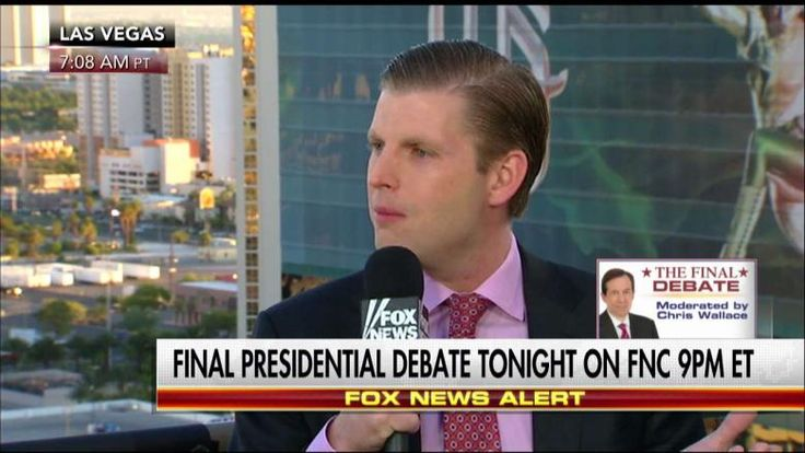 """10/19/16 - Eric Trump, son of Republican presidential nominee Donald Trump, says his father is going to focus on """"prosecuting"""" Hillary Clinton and her resume at the final presidential debate tonight."""