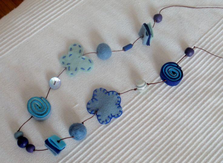 blue felt necklace
