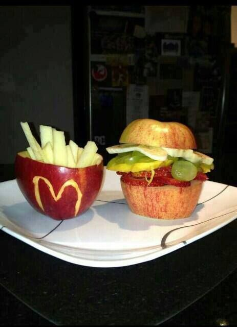 This is a good idea :) use fruit to make it look like hamburgers and fries :).
