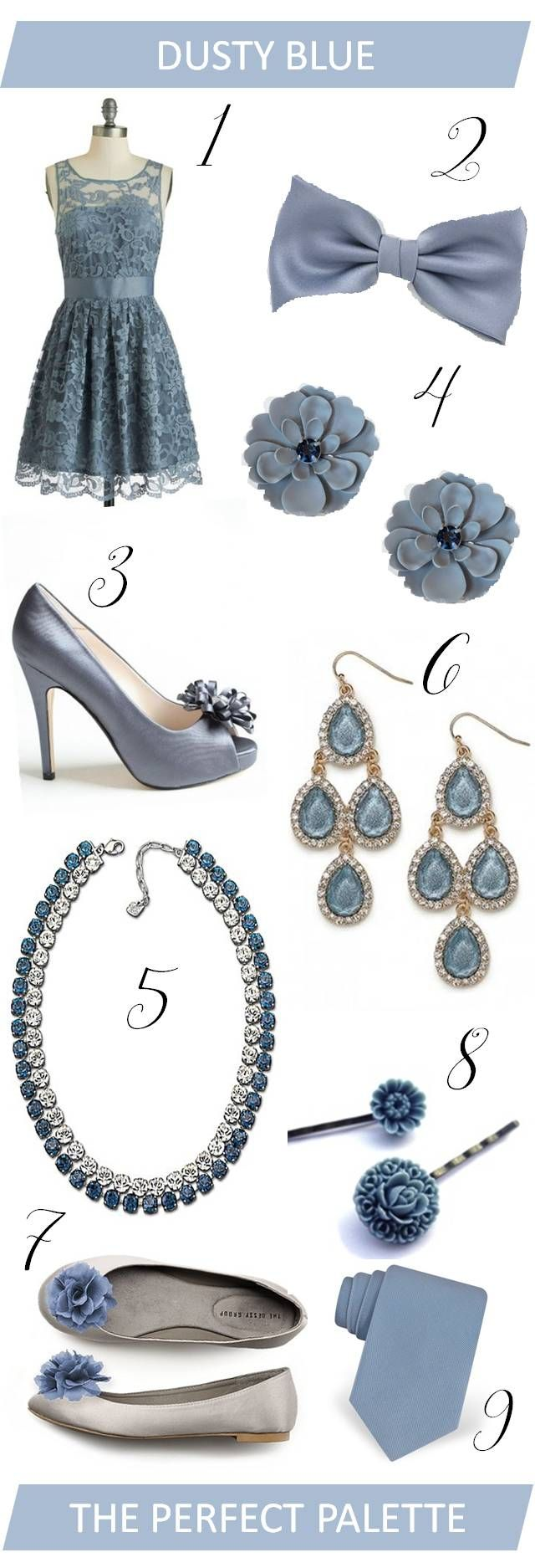 The Perfect Palette: {Wedding Wardrobe}: Dusty Blue