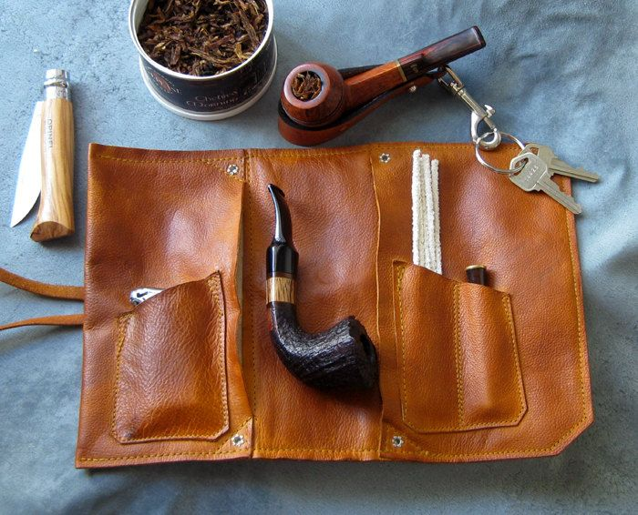 Leather Pipe & Tobacco Pouch in British Tan. via Etsy.