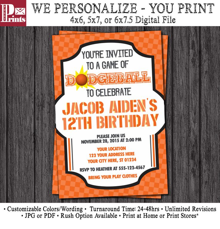 Dodgeball Birthday Invitation - Sports Birthday Invitations by PuggyPrints on Etsy