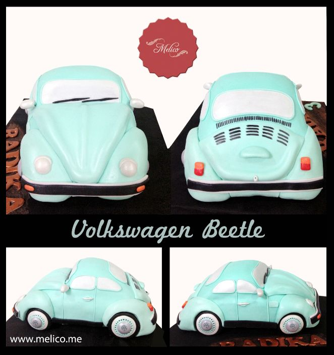 3D Cake - Car Volkswagen Beetle Cake / VW Car Cake #3dcake #cake #ediblecake #sculptedcake #noveltycake #birthdaycake #kidsbirthday #sugarart -- Like and Follow us #melicobali (Instagram) || www.melico.me