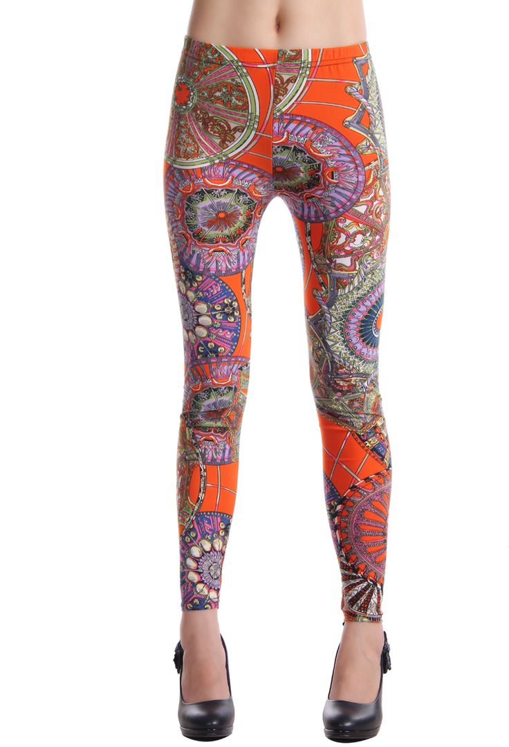 Classic Indian Popular Pattern Orange Leggings