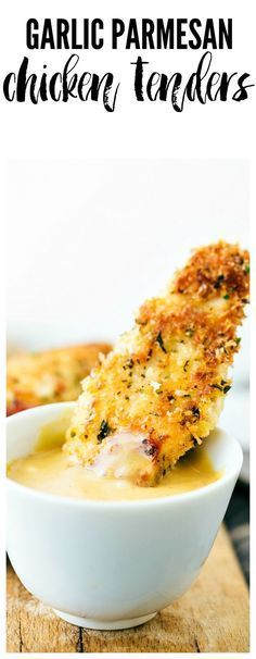 Delicious chicken tenders breaded in a garlic parmesan panko mixture and baked to crispy perfection! This is a meal the entire family will love!