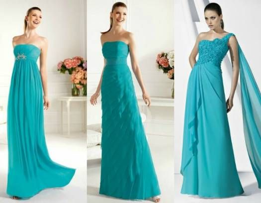 Vestidos azul-turquesa Pronovias. Fotos: www.pronovias.es
