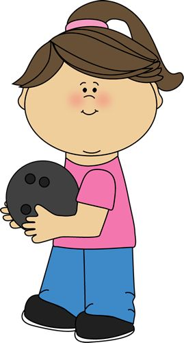 Girl with Bowling Ball Clip Art - Girl with Bowling Ball Image