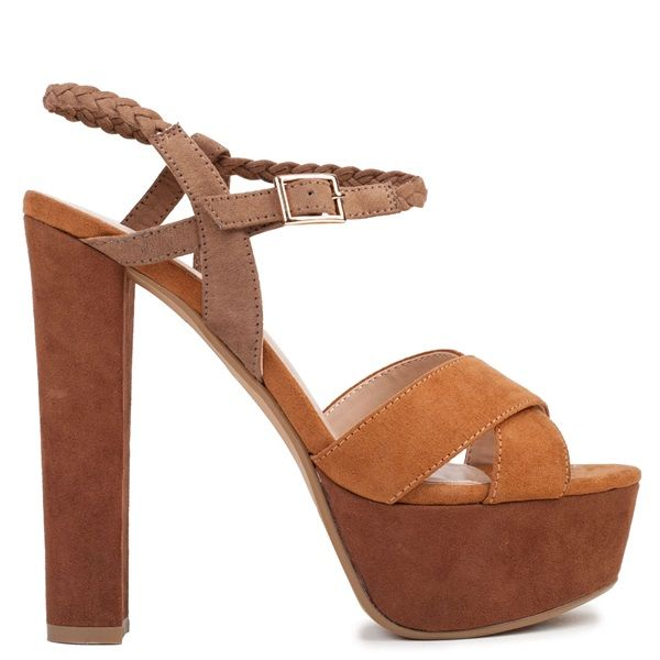 Tobacco high-heel sandal with suede texture, platform and crossed straps. Features brown braided ankle strap. Fastens with adjustable ankle strap.