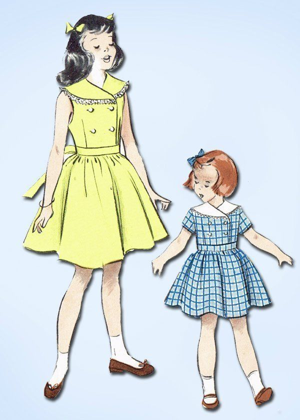 1950s Vintage Girl's Dress Easy! 1950 Butterick Vtg Sewing Pattern Sz 8…