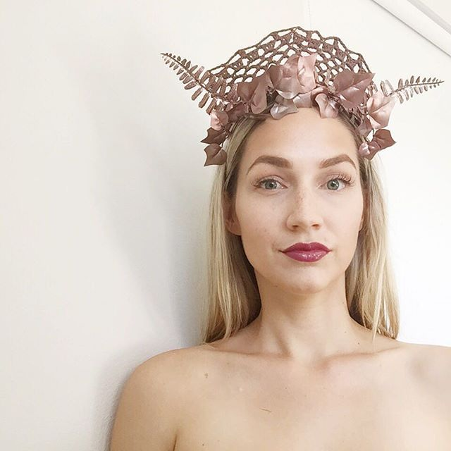 Bronze lace crown / headpiece by Alea Headpieces. Perfect millinery / fascinator for the races or special event: a bridal shower, baby shower, engagement party or hens night. Shop what's available with worldwide shipping x