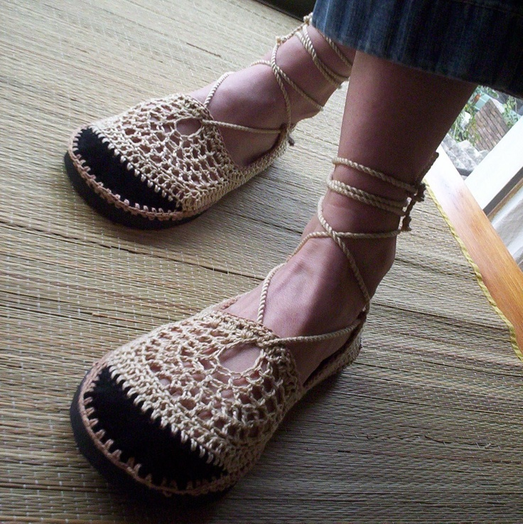 Lace up crochet SHOES - Mary Jane - Tan & Beige - CUSTOM made - Hippie boho sandals. $62.00, via Etsy.