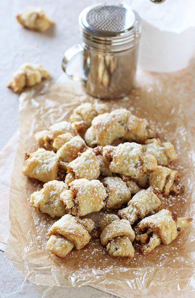 Grandma's Butter Horns (Brown Sugar Walnut Rugelach) | cookiemonstercooking.com