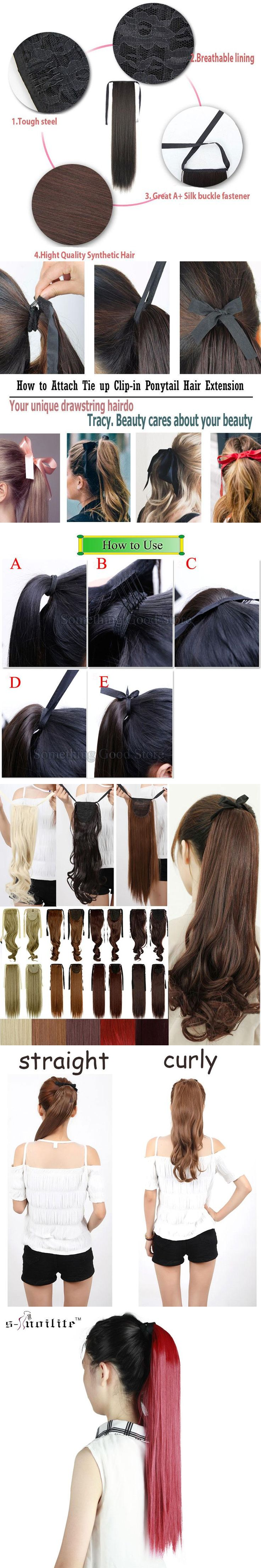 """SNOILITE Long Synthetic Straight Ponytails 22"""" 120g Clip In Ponytail Hair Extension Hair piece 14 Colors"""