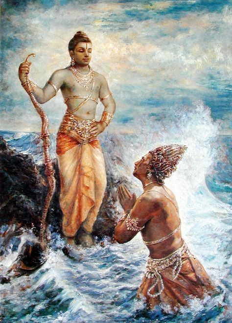 Varuna, Lord of the Waters emerges at Lord Rama's request /prayers to build the bridge across from India to Lanka. Rama asks Varuna if his waters will be able to hold the bridge and Varuna tells him if he gets the monkeys Nala and Nila to build it, it should hold.