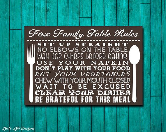Table Manners Sign Family Table Rules Sign Dinner Rules  : 4d1b773d8d87cec7aa2e1598223e2142 from pinterest.com size 570 x 453 jpeg 70kB