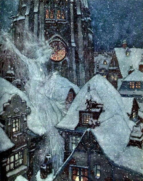 """Edmund Dulac, illustration for a 1911 edition of Hans Christian Andersen tales. """"Many a winter's night she flies through the streets and peeps in at the windows, and then the ice freezes on the panes into wonderful patterns like flowers.""""  The book & illustrations are on gutenberg."""