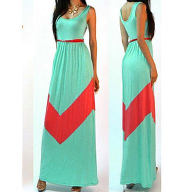 Womens Green and Red Maxi Dress Stretchy and Sleeveless