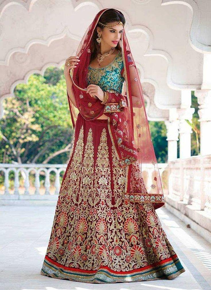 Blue Red Georgette Dhupion Bridal Lehenga Choli