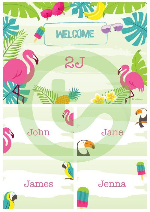 Tropical Paradise - Welcome Sign and Name Tags Teaching
