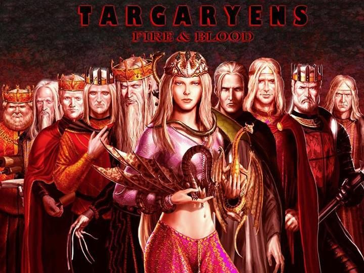 "Targaryen ""Fire and Blood"". From left to right: Aegon IV, Aerys I, Daeron II, Jaeherys II, Aerys II, Daenerys, Viserys ""The Beggar King"", Aegon V, Maekar I, and Viserys II."