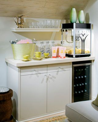 @Katie Mustard, a place for your popcorn maker and pop machine, don't forget the craft room too!  You could make this room a totally chick room....LOVE IT!!