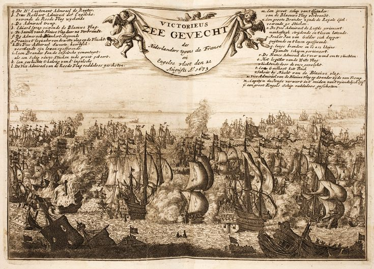 11.08.1673.Battle of Texel.Third Anglo-Dutch War.Michiel de Ruyter.De Gouden Leeuw (ship,1666) De Witte Oliphant (ship,1666)Battle of Texel/Battle of Kijkduin. Naval battle of the Dutch against the French and British fleets, 22 August 1673. Panorama. Engraving with numbered descriptions.1685-99.Peace Palace Library