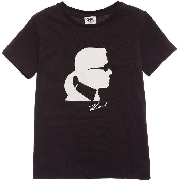 Karl Lagerfeld Kids Boys Black 'Rock Chic' Karl Silhouette T-Shirt