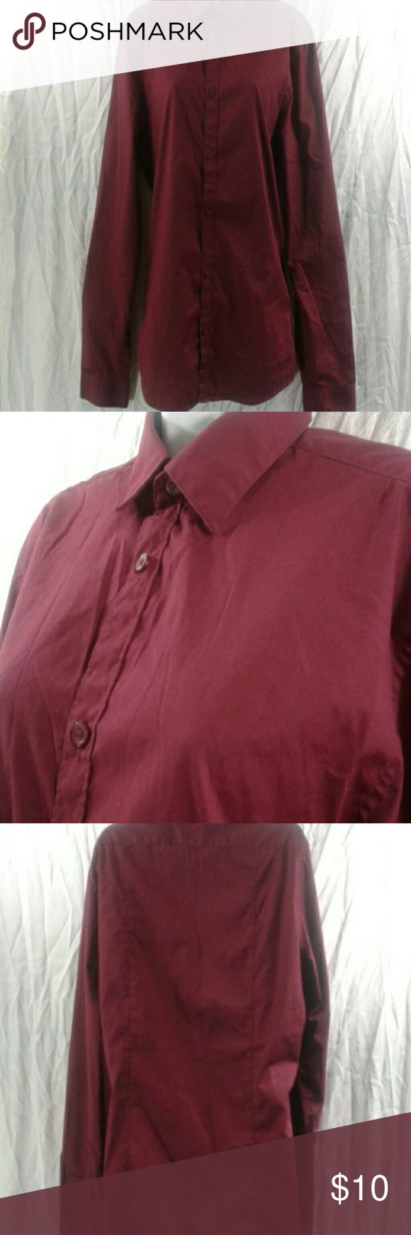H&M maroon dress shirt- medium H&M maroon dress shirt. Maroon long sleeve. Good condition, gently used.  Great for work! H&M Shirts Dress Shirts
