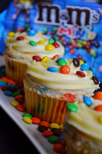For the Love of Dessert: M&M Cupcakes w/ White Chocolate Buttercream