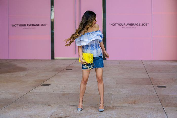 blue ruffle off shoulder top studded denim skirt