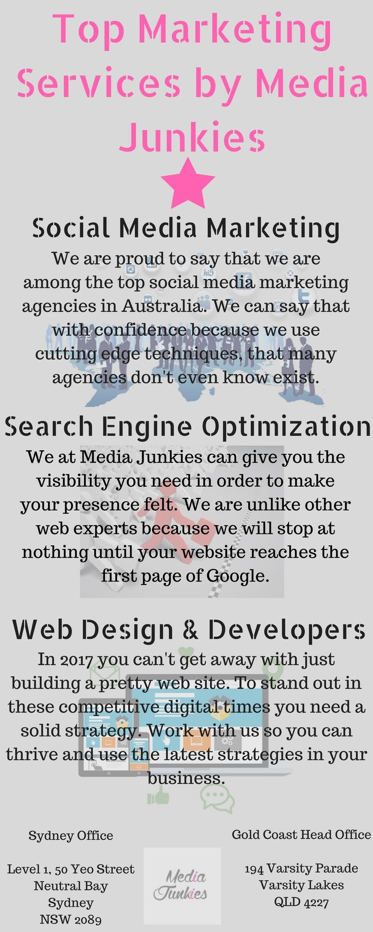 Media Junkies is a online marketing service providing agency in Australia working from years. Social media marketing, seo, Web   design & developers are our some top marketing services. If you are looking for a marketing agency to work for your business with   advance marketing techniques, go for Media Junkies. Check out all our services at: https://mediajunkies.com.au/services/