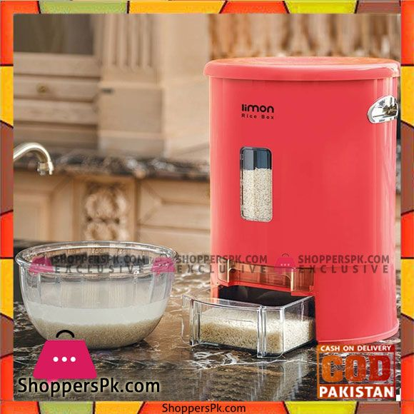 Buy Limon Rice Box Dispenser With Cup Flour Container 10 Kg At Best Price In Pakistan Flour Container Rice Box Food Storage Boxes