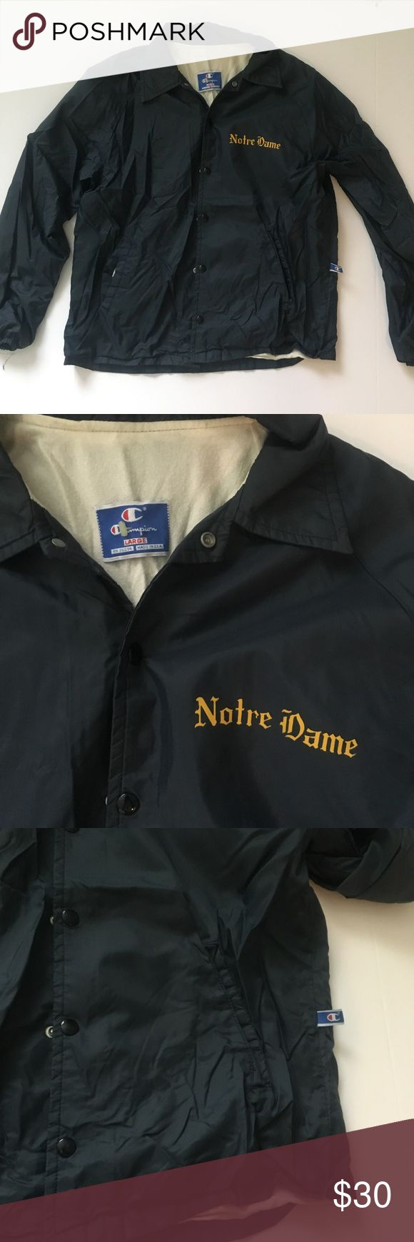 Vintage men's champion Notre dame windbreaker •Men's vintage champion Notre Dame Windbreaker. Navy blue/ dark gray color snap button front  •Size: Large  •All Items checked for stains, holes, and excessive wear: If no issues noted then item is in very good condition!  •Comes from smoke free home •Have cats: all items come freshly laundered but a few hair might be on clothing.  •Open to offers  •Bundle discounts available  •Ships within 24 hours of purchasing, will communicate if not able to…