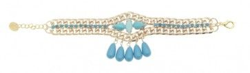"""""""Snadragons"""" - Handmade gold plated bracelet with turquoise Swarovski strasses and beads,by Art Wear Dimitriadis"""