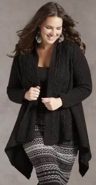 Plus Size Knit Wool Cardigan