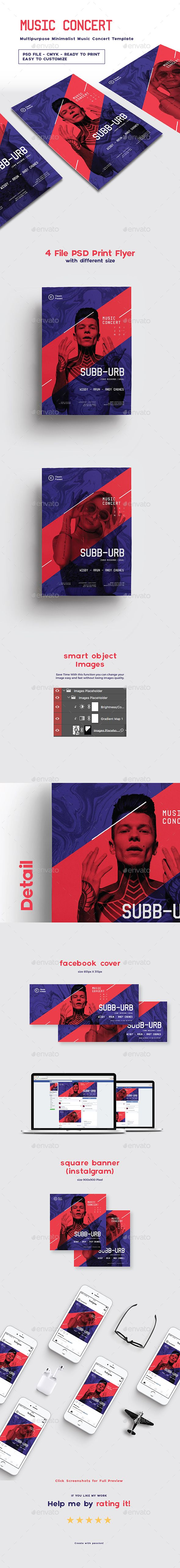 Multipurpose Minimalist Music Concert Template — Photoshop PSD #musical • Available here ➝ https://graphicriver.net/item/multipurpose-minimalist-music-concert-template/20868628?ref=pxcr