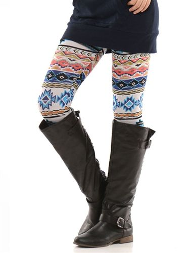 Navy Coral Aztec Leggings, Trendy Clothing, Popular Clothing, affordable boutique clothes, winter leggings, cute leggings, aztec print leggings, trendy leggings, boutique leggings, cheap womens clothing, cute leggings for fall, skinny jeans