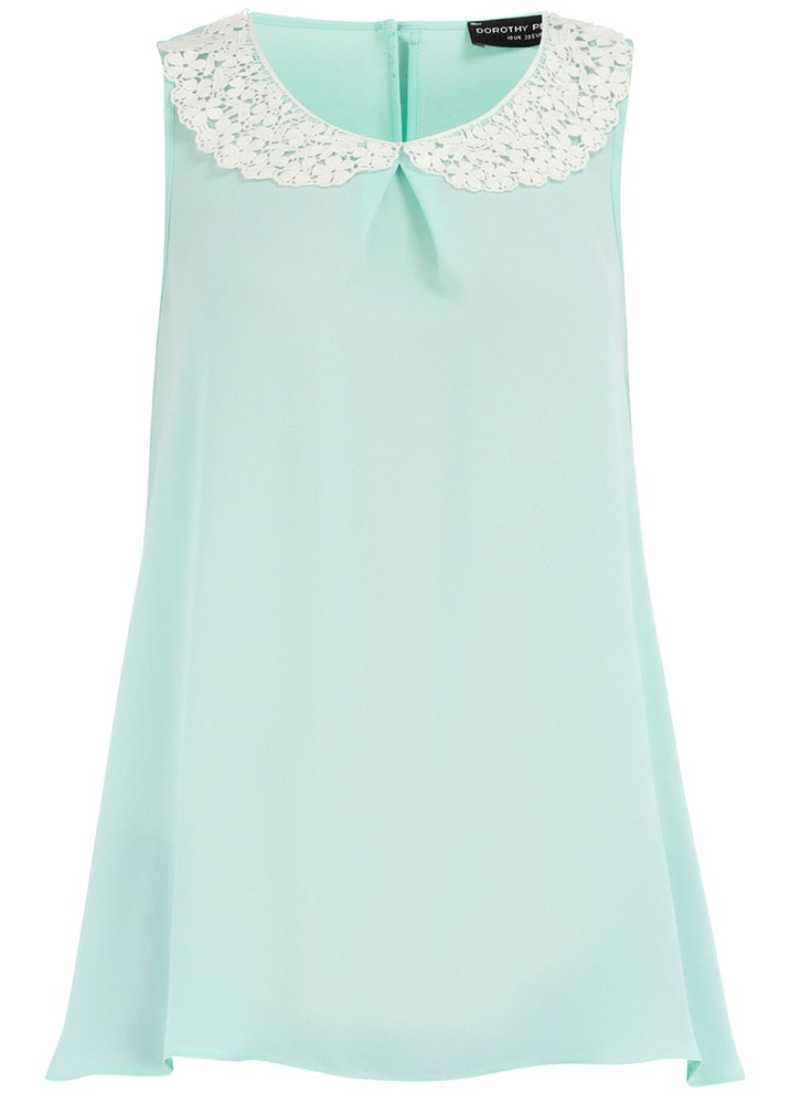 Mint/Ivory collared shell top from Dorothy Perkins