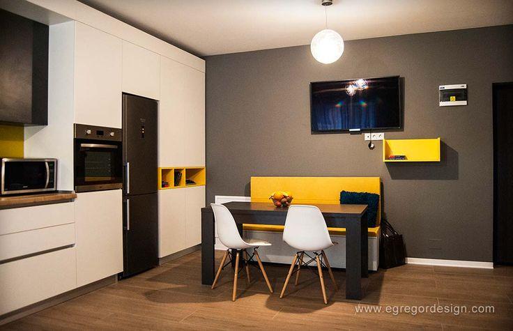 amenajare si mobilare apartament cu doua camere bucatarie pal cu loc de luat masa