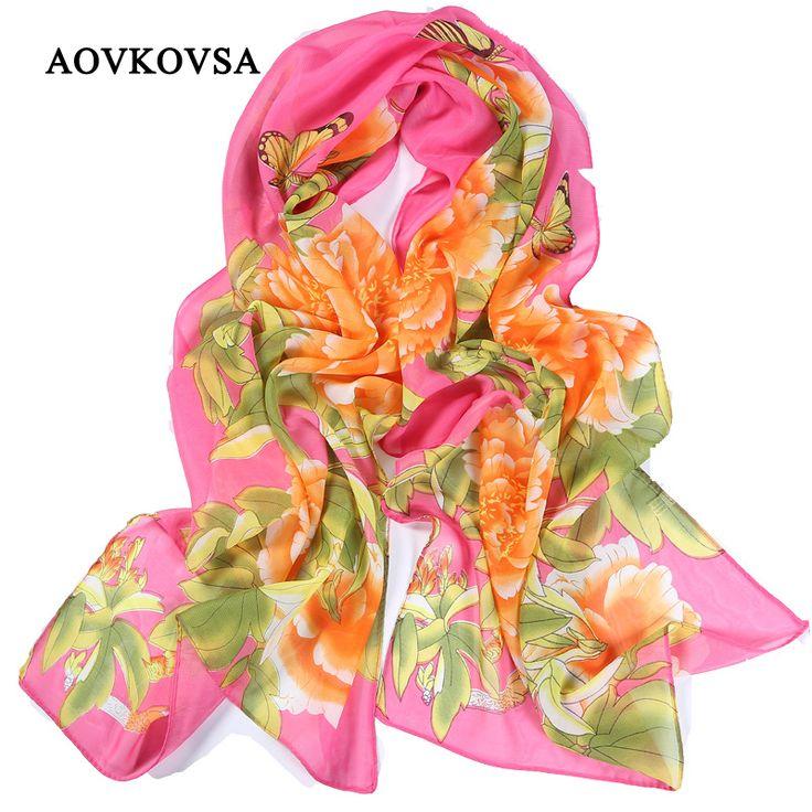 AOVKOVSA 2017 new summer printing women Chiffon Scarves butterflies roses prints sunscreen Shawls ladies beach Scarfs #Affiliate