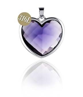 Kagi Jewellery, VIOLET LOYAL (medium pendant) Purple Heart. Birds of Paradise Collection