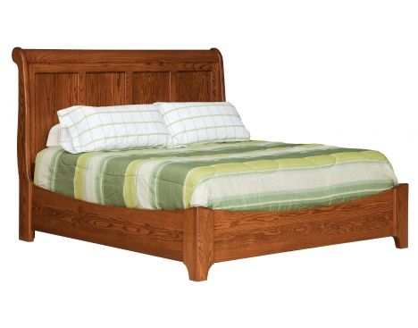 Victorian King Sleigh Bed with Low Footboard   Daniel's Amish Collection