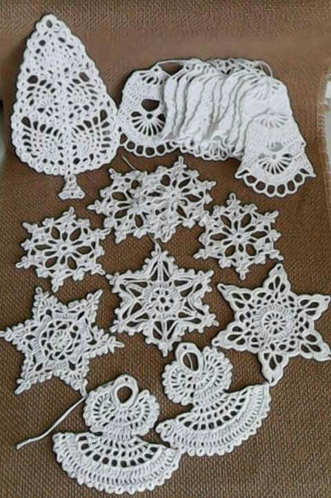 crocheted christmas ornaments by Babu Szabo...www.facebook.com/LAteliercrochelaceandroses