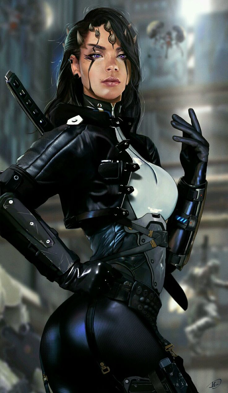 Woman warrior, teched out and out possibly from an alien race, space opera / sci-fi character and race inspiration