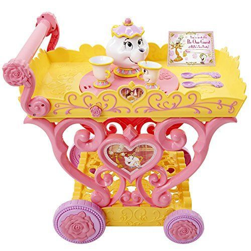 "Relive the magical night where Belle has dinner with the enchanted objects of the castle! * Magical tea party for two! * Features a top that spins when pushed, sending Mrs. Potts and Chip round and round * It plays the song ""Be Our Guest"" * (Placed within the Amazon Associates program) * 16:52 Mar 16 2017"