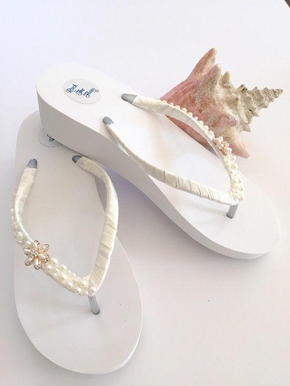 Bridal Flip Flops WedgesWedding By RocktheFlops On Etsy
