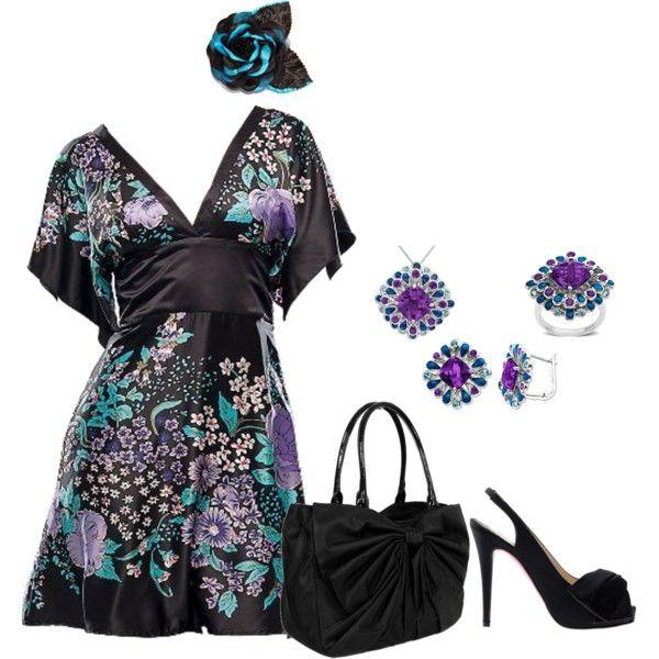 OutfitKimonos Dresses, Prints Dresses, Black Prints, Fashion Style, Flower Dresses, Outfit, Blue Flower, Beautiful Fashion, Dreams Closets