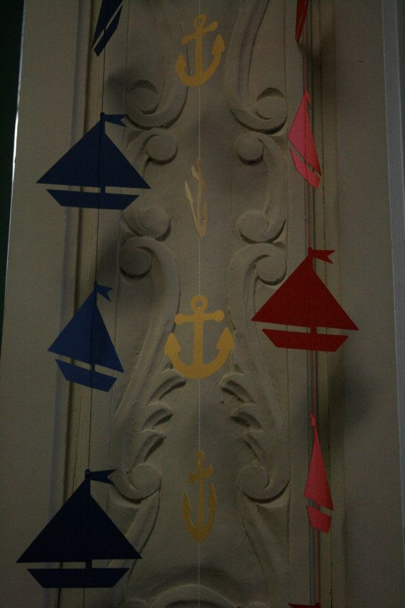 Anchor  Sailboat Garland, Sailboats Party, Nautical Party, Nautical Theme, Die Cut Anchors and Sailboats on Etsy, $30.00