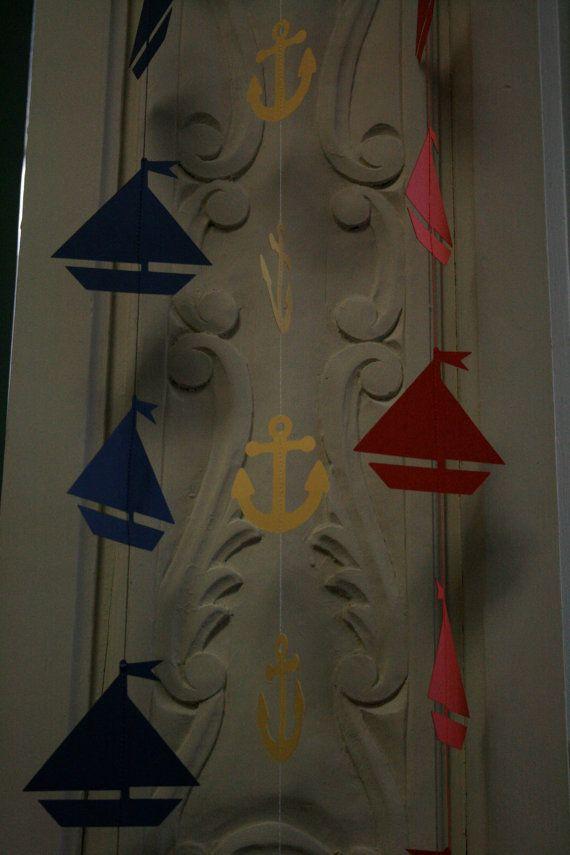 Anchor  Sailboat Garland, Sailboats Party, Nautical Party, Nautical Theme, Die Cut Anchors and Sailboats on Etsy, $30.00