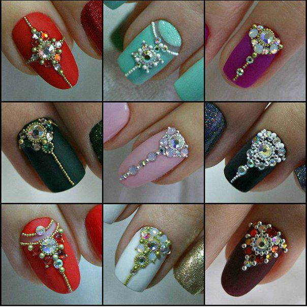 Jeweled bridal nail designs